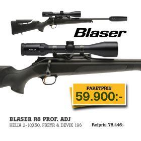 Blaser R8 Prof. Adj. + Helia 2-10x50i + Dämpare Freyr&Devik 196