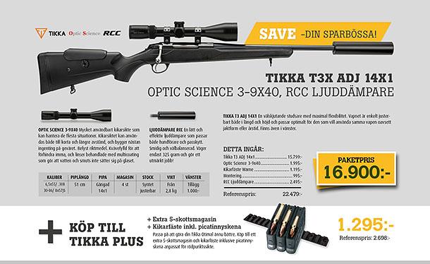 Tikka T3x adj 14x1 optic science 3-9x40, RCC Ljuddämpare
